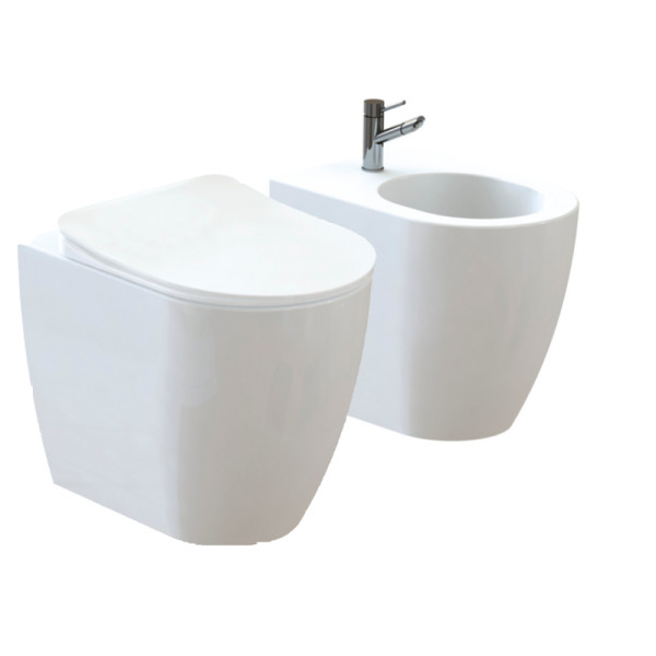 Stand-WC + Stand Bidet Oval FE350-11-SET