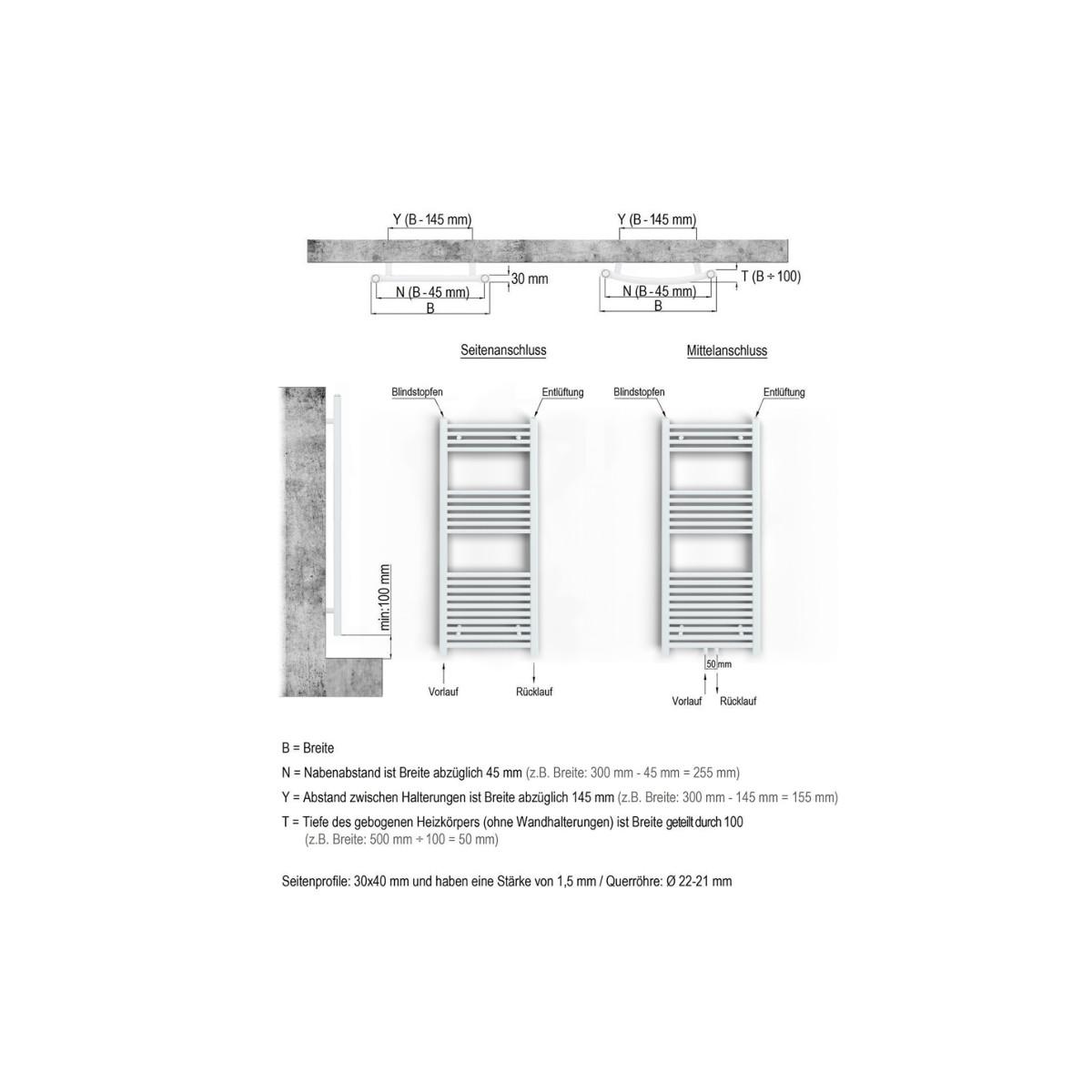 in verschiedenen Gr/ö/ßen erh/ältlich KTX 3, 1775h x 500b inkl gerade hochwertig Handtuchtrockner Elektrobadheizk/örper Handtuchhalter weiss Heizstab und verschieden w/ählbaren Heizpatronen